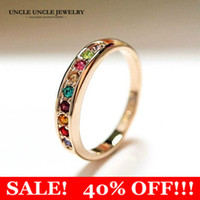 Wholesale Gold Multicolor Rings - Beautiful!!! Rose Gold Color Multicolor Austrian Rhinestones Classic Must-have Simple Lady Ring 18KRGP Stamp