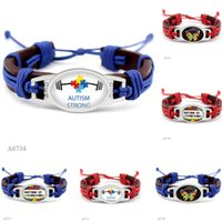 Wholesale Wholesale Autism Awareness Charm Bracelets - (10 Pieces Lot) Fashion Butterfly Autism Strong Awareness Heart Charm Leather Wrap Cuff Bracelets For Women Men Girl Jewelry