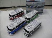 Wholesale U Bus - Wholesale- promotion arrival 10pcs lot WS-266 colorful mini speaker car shape mini bus speaker sound box MP3++U disk+TF+FM function