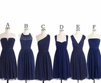 Wholesale Short Coral Strapless Chiffon Dress - Dark Navy Blue Bridesmaid Dress Real Sample Picture A Line Chiffon Knee Length Women Wear Maid of Honor Dress For Wedding Party Gown