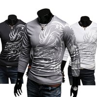 Wholesale Totem Tattoo Shirt - Wholesale- 2016 hotMen's Stylish Cotton Blend Crew Neck Tops Dragon Totem Tattoo Printed Long Sleeve T-shirt Autumn 8RTC
