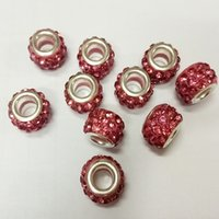 Wholesale Diy Loose Ceramic Beads - Best Selling Pandora Bead Copper Crystal Polymer Clay Beads Shambhala Drill the Ball DIY Bracelets Necklaces Jewelry Making Loose Beads