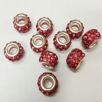 plastiklehm schmuck diy großhandel-Meistverkaufte Pandora Bead Kupfer Kristall Polymer Clay Perlen Shambhala Bohren Sie den Ball DIY Armbänder Halsketten Schmuck machen lose Perlen