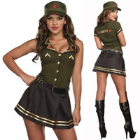 Wholesale military woman costume online - Women Sexy Army Green Soldier Uniform High Quality Halloween Masquerade Costume Military Cosplay Outfit Roleplaying Fancy Dress