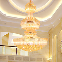 Wholesale Hanging Touch Lamps - Modern Crystal Chandeliers LED Gold Chandelier Lighting Fixture American European 3 Light Colors Dimmable Long Home Hotel Hanging Lamps