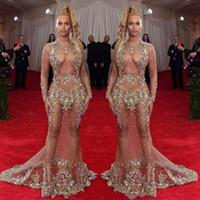 voir à travers le tulle achat en gros de-2019 Robe de soirée transparente perlée Beyonce Met Ball Robes Tapis Rouge Robe de célébrité nue nue Voir à travers une tenue de soirée Balayage Train Sans dos