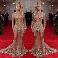 vestidos finos venda por atacado-2019 Sheer Beaded vestido de noite Beyonce Met bola Red Carpet Dresses Nude naked celebridade vestido ver através de Formal Wear Sweep Train Backless