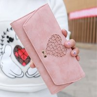 Wholesale Folding Mouse - YOUYOU MOUSE Lovely Hollow Heart Pattern Wallet Long Section PU Leather 3 Fold Women Wallet Solid Color Large Capacity Purse