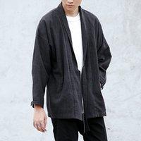 Wholesale Stage Wear Men - Wholesale- new fashion mens clothing black brown linen denim kimono jacket hip hop fashion windbreaker coat kanye west stage wear M L XL