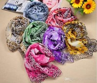 Wholesale X Large Women Sexy - Fashion Large Flower and Leopard Print Scarf 160 x 50cm Hot Sexy Ladies Chiffon Scarves 3 Colors Available