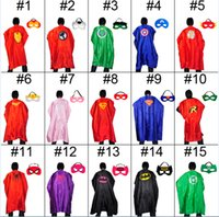 Wholesale Customize Mask - Double Side Superhero Cape 110*70cm Cartoon Cape with Mask costume Halloween Cosplay Adult Capes Customize Team Building Promotional