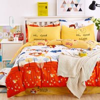 Wholesale Monkey Duvet - New Cartoon Bear and Monkey Printed Twin   Queen   King Size 100% Cotton Kids Bedding Set