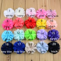 Wholesale Hair Bow Order - girls headbands network selling flower clips for baby girls 3.2 inches fold CHIFFON FLOWER 20 color mix order hairband baby headband felt