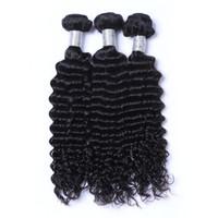 renk 32 saç örgüsü toptan satış-İşlenmemiş Hint İnsan Remy Bakire Saç Derin Dalga Saç Örgüleri Saç Uzantıları Doğal Renk 100 g / paket Çift Atkılar 3 Demetleri / lot