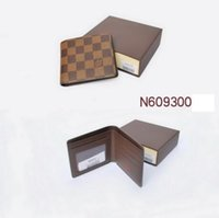 Wholesale Business Bag Leather - 2017 new L bag Free shipping billfold High quality Plaid pattern women wallet men's pures high-end luxury brand designer L wallet with box