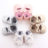 Wholesale Shoes First Steps - Fashion Heart bow shoes first step neonatal soft soles baby bed shoes baby girl princess shoes