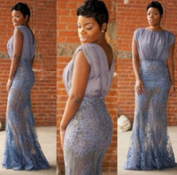 Wholesale gray bamboo flooring - Sexy Lace Long Plus Size Evening Dresses 2017 Chiffon See Through Mermaid Floor-Length Prom Gowns