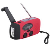 Wholesale Crank Radios - New Protable Solar Radio Hand Crank Self Powered Phone Charger 3 LED Flashlight AM FM WB Radio Waterproof Emergency Survival Red