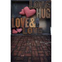 fondos de escritorio de san valentín al por mayor-Impreso digital Pink Love Heart Valentine Day Vinyl Telón de fondo para la boda Bebé recién nacido Foto Prop Niños Niños Foto de fondo