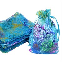 Wholesale Blue Coral Organza Jewelry Gift Pouch Bags X12cm x inch Drawstring Organza Gift Candy Beads Bags