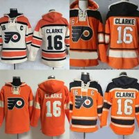 Wholesale Bobby Clarke Jersey - Hot Sale Mens Philadelphia Flyers 16 Bobby Clarke 100% Stitched Embroidery Orange Beige Best Quality Cheap Ice Hockey Jerseys Sweatshirt