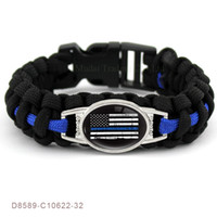 Wholesale Wholesale Survival Bracelet Charms - BACK THE BLUE POLICE Flag THIN BLUE LINE Paracord Survival Police Wife Mom Outdoor Bracelet Deputy Sister