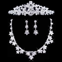 Wholesale Wedding Bridal Tiaras Butterfly - Twinkling Necklace Earrings Set Bridal Butterfly Crown Tiaras Bridal Jewelry Accessories Wedding Party Sets S007 Free Shipping