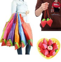 Sacs À Provisions À La Fraise En Pliage Pas Cher-Strawberry Foldable bag Réutilisable Eco-Friendly Sacs à provisions Pouch Storage Handbag Strawberry Foldable Shopping Bags Folding Tote KKA1987
