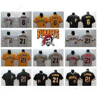 0e9fba3232e Baseball Men Three Quarter Men pirates baseball jerseys  21 Roberto  Clemente 6 Starling Marte yellow  Cheap Beckham Galaxy Jersey ...