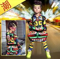 Wholesale Hip Hop Dance Costumes Clothes - Wholesale- New fashion maya children's clothing set dance wear Costumes Jamaica Totem kids sport suits Hip Hop harem pants & sweatshirt