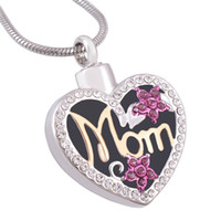 "Wholesale Stainless Steel Heart Shaped Necklace - Cremation Jewelry Heart-shaped Diamond in Gold ""Mom"" Urn Ashes Necklace Memorial Keepsake Pendant with Gift Bag and Funnel"