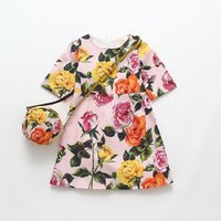 Wholesale Summer Baby Dress Wholesale - Girls Summer Dress with Flower Printed Disfraz Infantil Baby Girl Costume for Kids Clothes Princess Dress with Bags