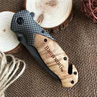kahverengileşme araçları toptan satış-Browning X50 karbon fiber + gülağacı Katlanır bıçak ganzo Taktik avcılık bıçak kamp survival Pocket Knife aracı