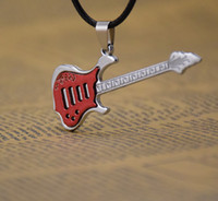 Wholesale christmas classics music - Supply fashion 5 colors music guitar necklace Pendant Necklaces men's jewelry men necklaces Black wax rope chain mix Classic style