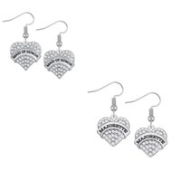 Wholesale Heart Shape Crystal Earrings - Special Design Fashion Heart Shape Two Color Crystal Message MAJORETTE\MAID OF HONOR Pendants Earrings DIY Accessories For Women