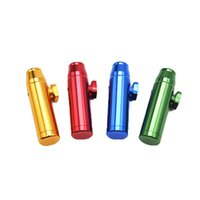 Wholesale Bullet Shaped - Aluminum metal Bullet Rocket Shaped Snuff Snorter Sniff Dispenser Nasal Smoking Pipe Sniffer glass bongs Endurable Tobacco Pipe