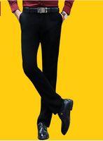 Wholesale Wool Silk Pants - Wholesale- 2016 autumn men suit pants wool silk thicken work pants business casual trousers straight classical dress pants men
