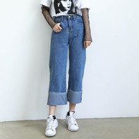 Wholesale High Waisted Pants Sale - Summer Boyfriend Jeans for women 2017 Hot Sale Womens tapered High Waisted Jeans Casual Loose High Rise Denim Harem Pants For Sale