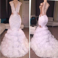 Wholesale long silver cross - South African 2K17 Prom Dresses Long Lace Appliques Plunging Deep V Neck Criss Cross Straps Mermaid Evening Gowns Vintage Formal Party Dress