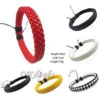 Wholesale White Gold Friendship Bracelets - Handmade Ethnic Tribal Genuine Wrap Charm Friendship Wholesale (24pcs lot) Male Pulsera Leather Bracelets Bangles Y#204
