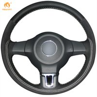 Wholesale Vw Mk6 Steering Wheel - Mewant Black Genuine Leather Black Suede Steering Wheel Cover for Volkswagen Golf 6 Mk6 VW Polo Sagitar Bora Santana Jetta Mk6
