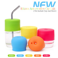 Wholesale Water Leakage - Leakage Elasticity Silicone Straw Cup Cover Baby Child Drinking Water Training Infant Drink Cup Cover Colourful Cup lid