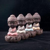 weihrauchspule sandelholz großhandel-Großhandel-incensory Buddha Statue Weihrauch Kegel Keramik Weihrauch Brenner Herd Disc Brenner Sandelholz Weihrauch Spule Buddha Ornamente