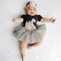 Wholesale Swan Dress For Girls - Baby Girls skirt romper Crown Swan print lace tutu dress romper for infants 0-3T outfits