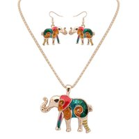 Wholesale Necklaces Pendants Gold Plated - New Arrival Animals Colorful Earrings Necklaces Jewelry For Girls Necklaces Pendants Long Earring Alloy Gold Plated Necklaces Earrings Sets