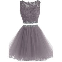 Wholesale Girls Party Dresses Grey - Real Picture Grey Tulle Cocktail Party Dresses Two Pieces 2017 Appliques Lace A-line Homecoming Party Gowns For Girls