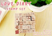 Wholesale Kids Stamp Sets - Wholesale-Free Shipping vintage Iron box DIY Stamps Multi-purpose exquisite Stamps Christmas Gift for Kids Birthday Party Supplies 25pcs set