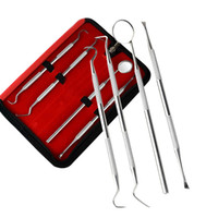 Wholesale Small Scrapers - 4Pcs lot Oral Care Dental Instruments Teeth Scraper Waxing Carving Kit with Small Bag Teeth Whitening Clean Dental Tool HT0093