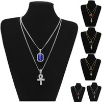 Barato Jóia De Moda Cruzada De Strass-Egyptian Ankh Key of Life Bling Rhinestone Cross Pendant com Red Ruby Pendant Necklace Set Men Fashion Hip Hop Jóias