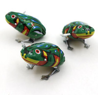Wholesale Wind Up Toys Free Shipping - Kids Classic Tin Wind Up Clockwork Toys Jumping Frog Vintage Toy For Children Boys Educational Free Shipping YH711
